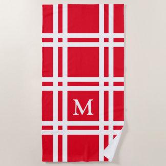 Bright Red and White Lattice Monogram Beach Towel