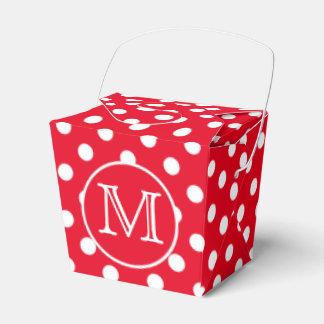 Bright Red and White Polka Dot Monogram Wedding Favor Boxes