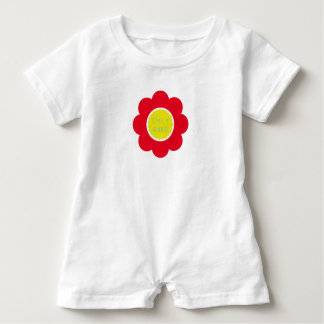 Bright Red and Yellow Flower on White Personalized Baby Romper