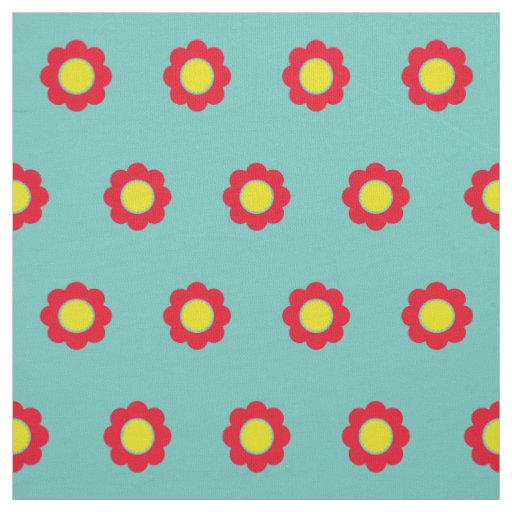 Bright Red and Yellow Flowers on Light Teal Fabric
