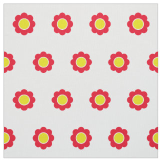 Bright Red and Yellow Flowers on White Fabric