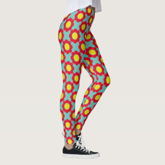 Bright Red and Yellow Modern Flowers on Light Teal Leggings