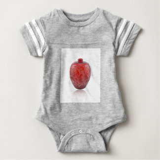 Bright red Art Deco glass vase with holly leaves. Baby Bodysuit
