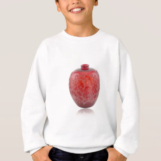 Bright red Art Deco glass vase with holly leaves. Sweatshirt
