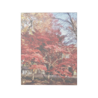 Bright Red Autumn Tree Notepad