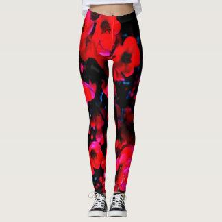 Bright red blossoms on black leggings