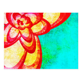 Bright Red/Blue Abstract Flower Design Postcard
