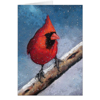 Bright Red Cardinal In Snow: Pastel Art Card