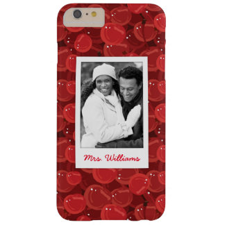 Bright Red Cherry Pattern | Add Your Photo Barely There iPhone 6 Plus Case