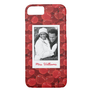 Bright Red Cherry Pattern | Add Your Photo iPhone 8/7 Case