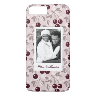 Bright Red Cherry Pattern | Add Your Photo iPhone 8 Plus/7 Plus Case