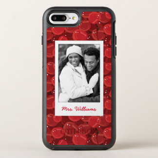 Bright Red Cherry Pattern | Add Your Photo OtterBox Symmetry iPhone 8 Plus/7 Plus Case