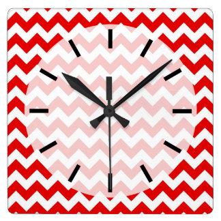 Bright Red Chevron Zig-Zag Pattern Square Wall Clock