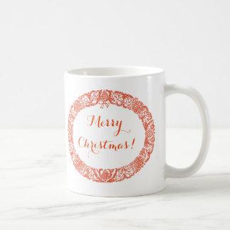 Bright Red Christmas Wreath to Customize Coffee Mug