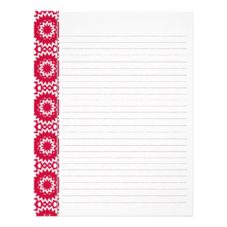 Bright Red Daisy Wheel Pattern Binder Pages