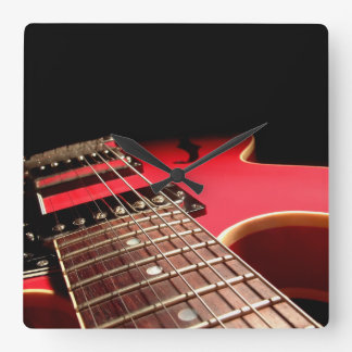 Bright Red Electric Guitar Photo Wall Clocks