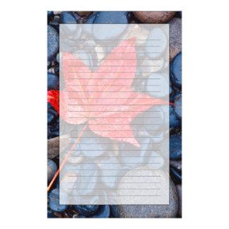 Bright Red Fall Leaf Stationery