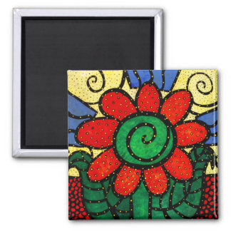 Bright Red Flower Square Magnet