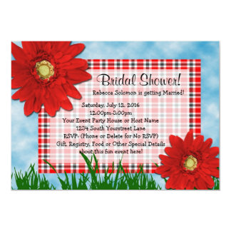 Bright Red Gerbera Daisies Summer Bridal Shower Card