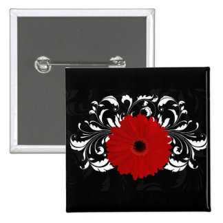 Bright Red Gerbera Daisy on Black 2 Inch Square Button