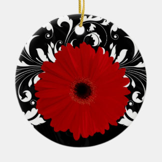 Bright Red Gerbera Daisy on Black Ceramic Ornament