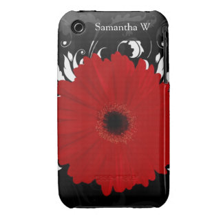 Bright Red Gerbera Daisy on Black iPhone 3 Case-Mate Cases