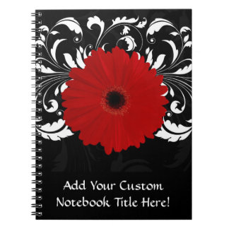 Bright Red Gerbera Daisy on Black Notebook