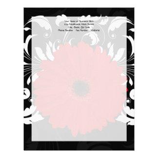 Bright Red Gerbera Daisy on Black Personalized Letterhead