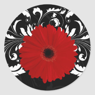 Bright Red Gerbera Daisy on Black Round Sticker