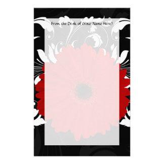 Bright Red Gerbera Daisy on Black Stationery
