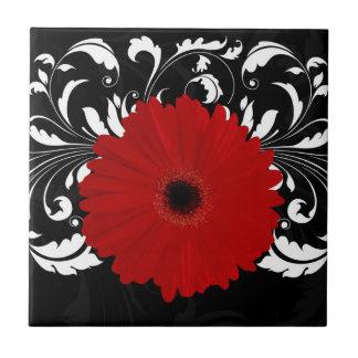Bright Red Gerbera Daisy on Black Ceramic Tile