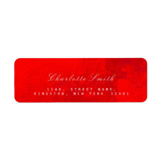 Bright Red Glass Metal Return Address Labels
