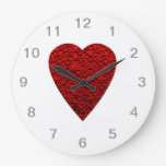 Bright Red Heart Picture. Clock