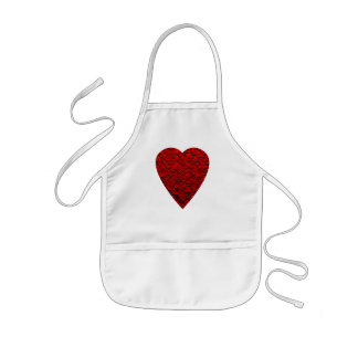 Bright Red Heart Picture. Kids Apron