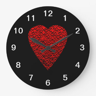 Bright Red Heart Picture. Large Clock