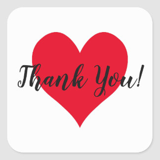 Bright Red Heart Thank You Square Sticker
