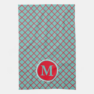 Bright Red Lattice Stripes on Light Teal Monogram Kitchen Towels
