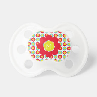 Bright Red Light Teal and Yellow Flower Monogram Pacifier