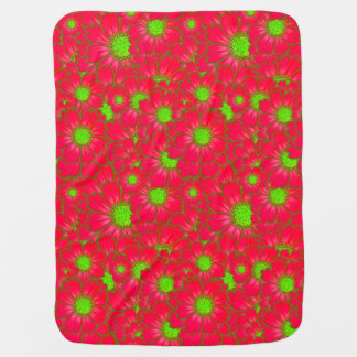 Bright Red Lime Green Daisy Flowers Floral Pattern Receiving Blankets