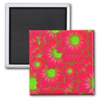 Bright Red Lime Green Daisy Flowers Floral Pattern Square Magnet