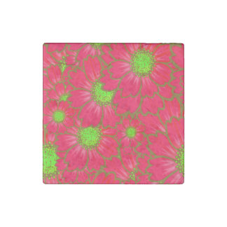 Bright Red Lime Green Daisy Flowers Floral Pattern Stone Magnets