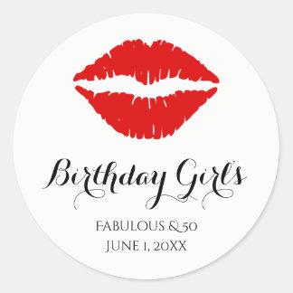 Bright Red Lipstick Fabulous & 50 Birthday Party Round Sticker