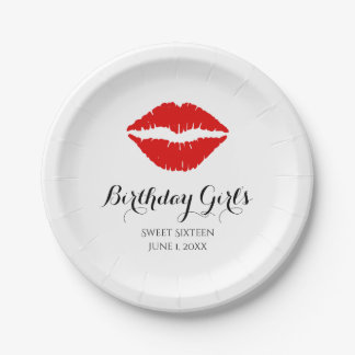 Bright Red Lipstick Sweet Sixteen Birthday Party 7 Inch Paper Plate