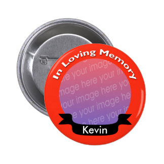 Bright Red Memorial Photo Button With Name