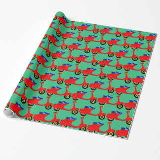 Bright red moped green Christmas wrapping paper