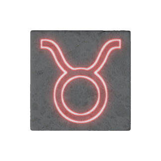 Bright Red Neon - Taurus the Bull Star Sign Stone Magnets