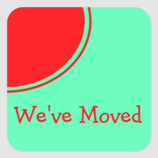 Bright red orange green Moving Announcement Square Sticker