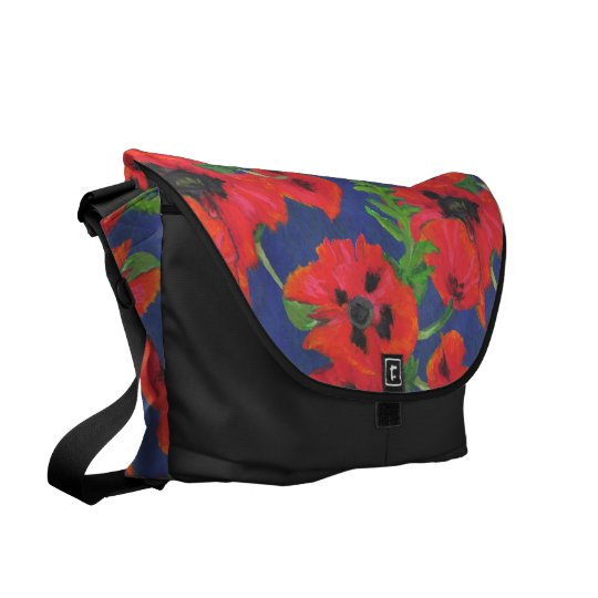 Bright Red Oriental Poppies Pattern on Blue Commuter Bag