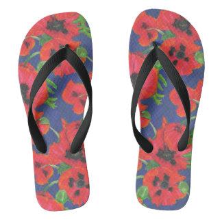 Bright Red Oriental Poppies Pattern on Blue Flip Flops
