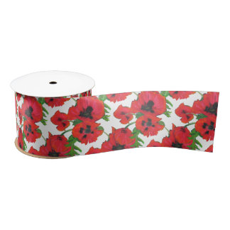 Bright Red Oriental Poppies Pattern on White Satin Ribbon